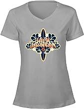 TooWest Amous Folk Singer Jack Johnson - Camiseta de algodón con Cuello en V para Mujer