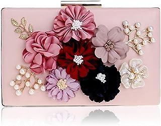 GLJJQMY Evening Bag Lady Flower Banquet Bag Fashion Evening Dress Clutch Bag Wallet Cosmetic Bag Evening Bags (Color : Pink, Size : 20x12x4cm)