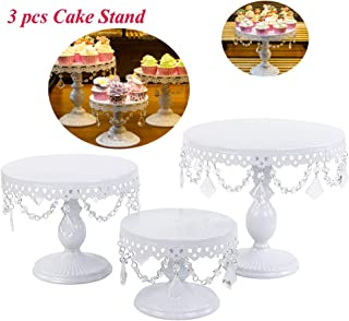 Set of 3 Cake Stands Round Cupcake Stands Metal Dessert Display Cake Stand with Pendants and Beads, Wedding Birthday Dessert Cupcake Pedestal Display, White