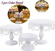 Set of 3 Cake Stands Round Cupcake Stands Metal Dessert Display Cake Stand with Pendants and Beads, Wedding Birthday Dessert Cupcake Pedestal Display, White