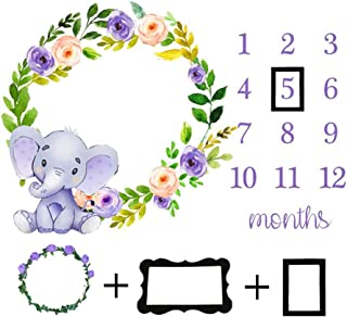 Baby Monthly Milestone Blanket Newborn Girls Photo Props Shoots Backdrop Personalized Purple Flower Elephant Photography Growing Infants Toddlers Swaddle Blanket