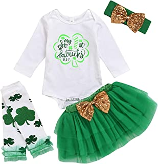 St.Patrick's Day Kids Newborn Baby Girls Outfit Lucky Clover Print Romper Bodsuit+Tutu Skirt Dresses Clothes Set