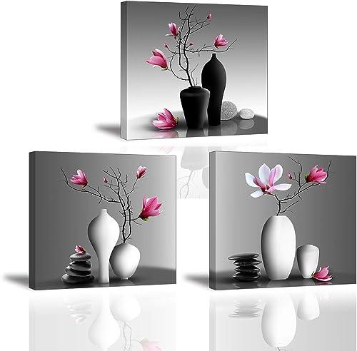 3X Orchidée Impression sur Toile Tableau Elegant Arbre dans la Vase à Fleurs Piy Peinture Motif Modern Tableaux Home ...