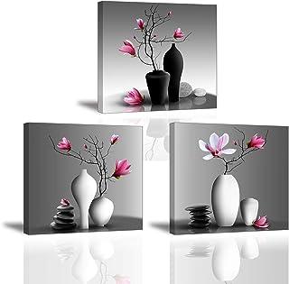 3X Orchidée Impression sur Toile Tableau Elegant Arbre dans la Vase à Fleurs Piy Peinture Motif Modern Tableaux Home Déco ...