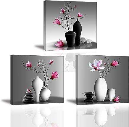 3X Orchidée Impression Sur Toile Tableau Elegant Arbre Dans La Vase à  Fleurs Piy Peinture Motif
