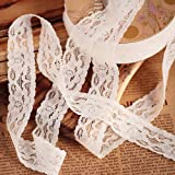 JUCOXO 1' Wide x 25 Yards Elastic Floral Pattern White Lace Ribbon for Decorating, Floral Designing and Crafts