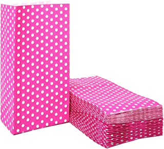 Pink Polka Dot Paper Bags Mini Paper Gift Bags for Party Favors Supplies by ADIDO EVA(3.5 x 2.3 x 7 in Hot Pink 50 PCS)