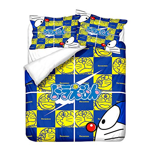 Probuk Doraemon - Juego de ropa de cama de microfibra, diseño de anime, funda nórdica para niños y niñas, con funda de almohada (A-05,135 x 200 cm (50 x 75 cm)