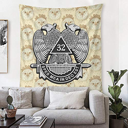 TIINTEXBA Women Mens 32nd Degree Double Headed Eagle Scottish Rite Hanging Tapestry Novelty High Tall Art Tapestry Wall Suit for Home Decor & Bedroom Dorm 54x60 Inches