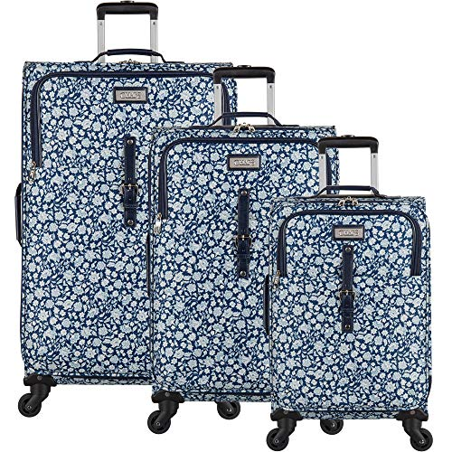 Chaps Lightweight Luggage 3 Piece Suitcase Set with Spinner Wheels, Dot Garden, One Size