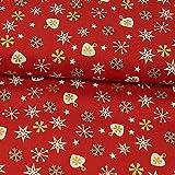 Baumwollstoff Weihnachten Sterne & Herzen rot