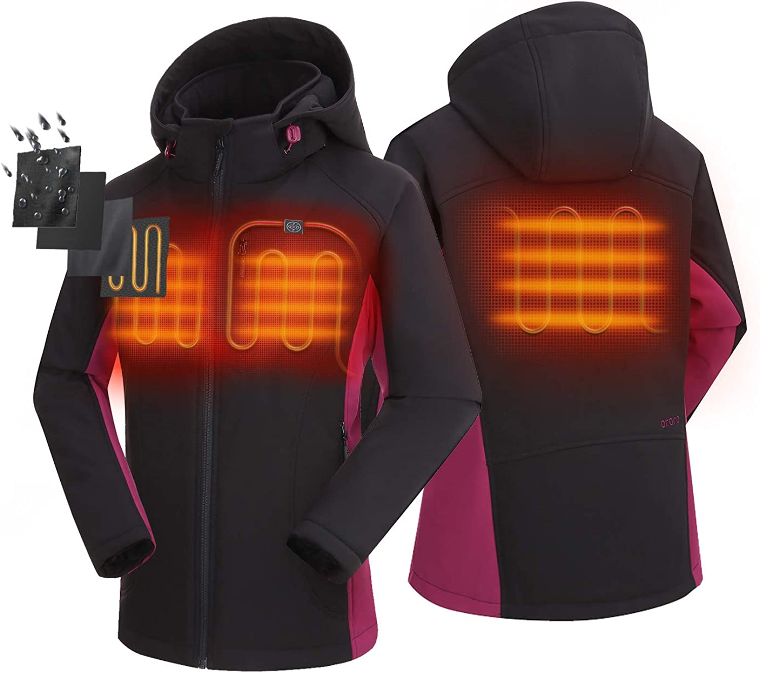 ORORO 2021 Women's Slim Fit Heated Jacket with Battery Pack and Detachable Hood: Clothing