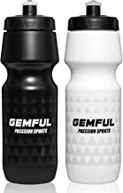 GEMFUL 24oz Bicycle Bottle BPA Free Sport Water Bottles with Bike Cage (Black and White)