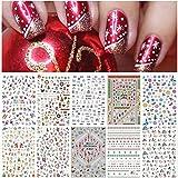 Kalolary 10 fogli Adesivi per Unghie di Natale, Adesivi Floreali per Nail Art Decalcomanie Trasferimento Nail Adesivi Nail Manicure Decalcomanie per Nail Decorazione Fai da Te