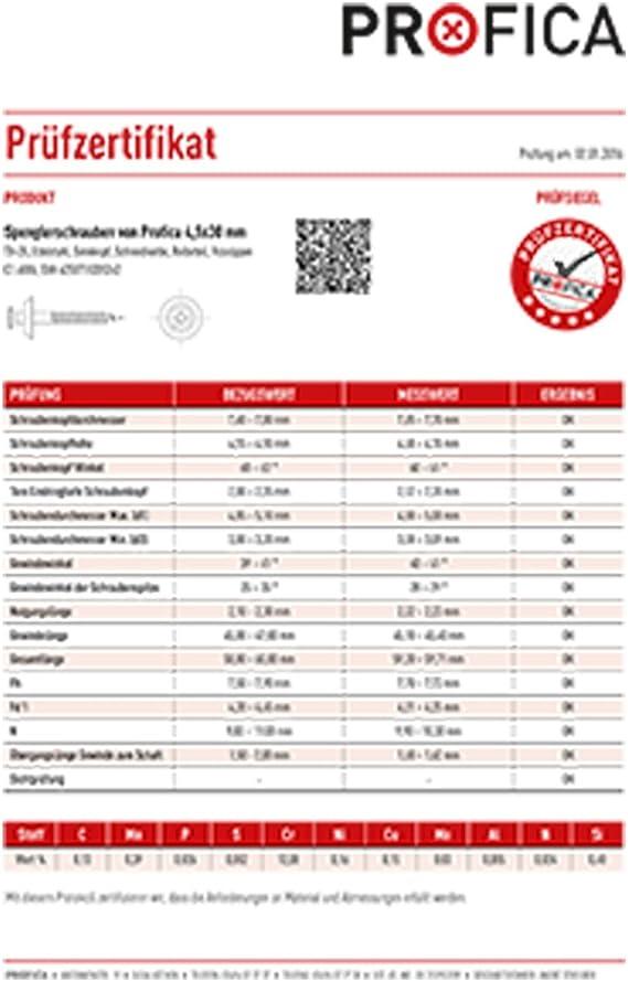 TORX TX 20-15 mm EPDM Dichtung von Profica 300 Profica SPENGLERSCHRAUBEN 4,5 x 60 mm Wellplatten Dachplatten Lichtplatten Material: Inox Profilplatten zur Befestigung von Trapezblech EDELSTAHL A2 Wellblech