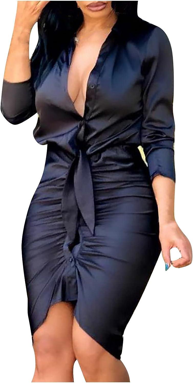 SHILONG Women's V-Neck Long Sleeve Solid Color Elegant Slim Work Business Office Cocktail Bodycon Sheath Dress
