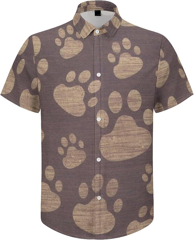 Mens Button Down Shirt Dog Paw Print Casual Summer Beach Shirts Tops