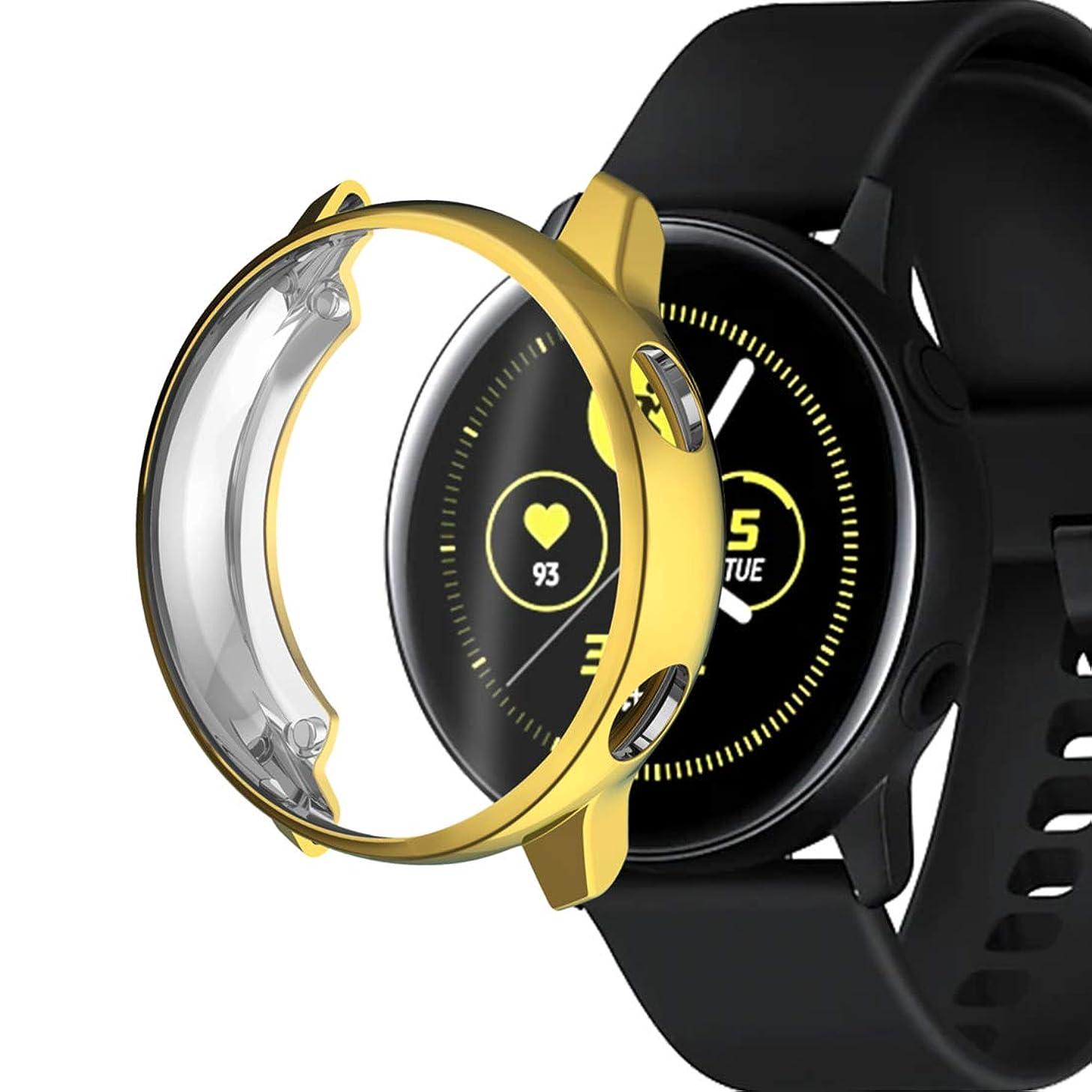 矛盾バン雄大なSamsung Galaxy Watch Activeスポーツウォッチ用 TPU メッキ 保護ケース カバー (ローズゴールド)