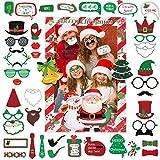 Joyjoz Navidad Photocall con Marco de Fotos, Selfie Photocall Juegos de Navidad para favores de Fiesta, Decoraciones de telón de Fondo de Fotos Holiday Photo Booth Props Marco Instagram Photocall