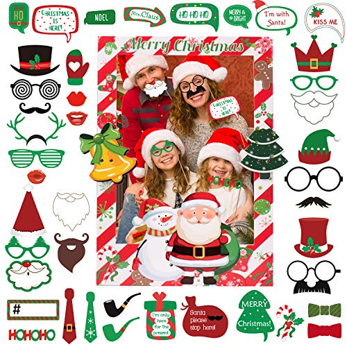 Joyjoz Navidad Photocall con marco de fotos, Selfie Photocall Juegos de Navidad para favores de fiesta, Decoraciones de telón de fondo de fotos Holiday Photo Booth Props Marco Instagram Photoc