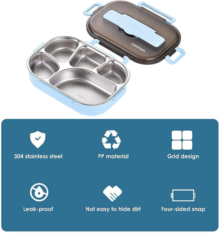 Fiambrera de acero inoxidable, Fiambrera Bento de múltiples compartimentos con utensilio, Fiambrera portátil para oficinistas, Contenedor de comida para la oficina de la escuela