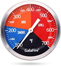 GALAFIRE 700 °F Grill Thermometer Replacement for Wood Smoker Charcoal Pit, 3 3/16 inch Large Face BBQ Temperature Gauge