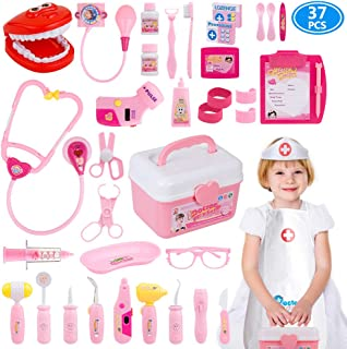 Gifts2U Toy Doctor Kit, 37 Piece Kids Pretend Play Toys Dentist Medical Role Play Educational Toy Doctor Playset for Girls Ages 3-6