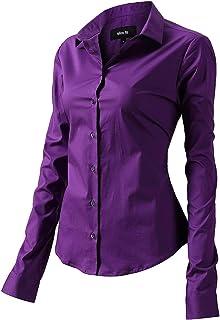 FLY HAWK Blouse hemdblouse dames hemd basic Kent kraag elegant OL Work Slim Fit lange mouwen stretch formele overhemden ma...