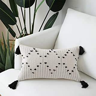 Tassels Lumbar Throw Pillow Cover - Decorative Long Pillows Cushion for Sofa Couch Beige with Black Geometric 12