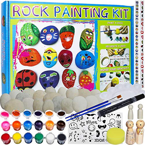 Consine Rock Painting Kit for Kids Art and Crafts Children Hide & Seek Stone Art Sets Includes 24 River Rocks, Waterproof Paint, Wooden Peg Doll People