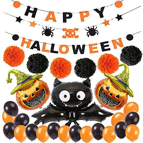 Unique Store Decoración de Fiesta de Halloween Set Happy Halloween Balloons Banner, Bat, Pumpkin Ghost Foil Balloon Black Orange Globo de látex para Halloween Bar Suministros de decoración del hogar