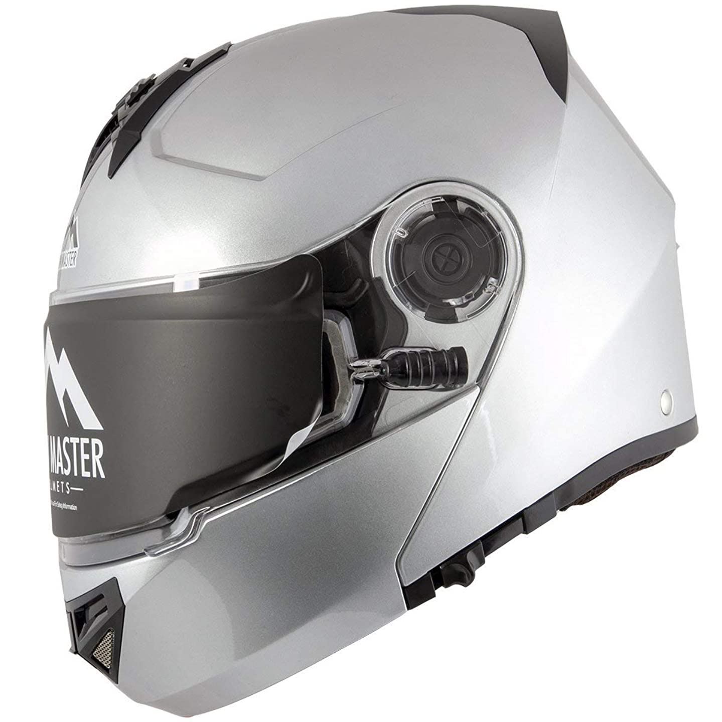 Snow Master TX-50 Silver Modular Dual Use Snowmobile and Street Helmet - X-Large