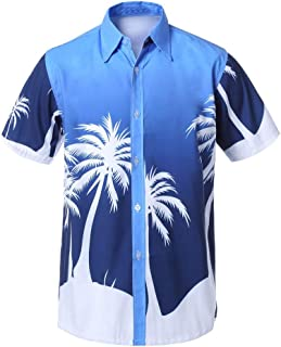 YAYUMI Men Hawaiian Print Short T-Shirt Sports Beach Quick Dry Blouse Top Blouse