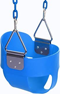 Funmily High Back Full Bucket Toddler Swing Seat with 60 inch Plastic Coated Swing Chains & 2 Snap Hooks Fully Assembled - Swing Set (Blue)