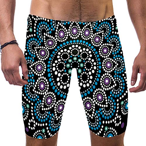 LORVIES Mandalas Australische Aboriginal Dots Patroon Etnische Stijl Mannen Zwemshort Surf Zwembroek Zwembroek Snelle Droge Zwemkleding, S