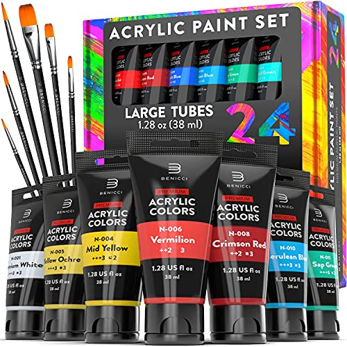 Premium Quality Acrylic Paint Set 24 Colors - 1.38oz (38ml) - with 6 Nylon Brushes - Safe for Kids & Adults - Perfect Kit for Beginners, Pros & Artists to Create Amazing Paintings and Artwork