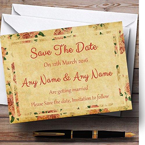 Sla de datum kaarten Vintage roze rozen ansichtkaart stijl gepersonaliseerd met enveloppen - elke aangepaste tekst voor elke gelegenheid 40 Cards & Envelopes
