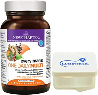 New Chapter Every Man's One Daily, Mens Multivitamin with Probiotics, Vitamin D3, Non-GMO - 48 Vegetarian Tablets Bundle with a Lumintrail Pill Case