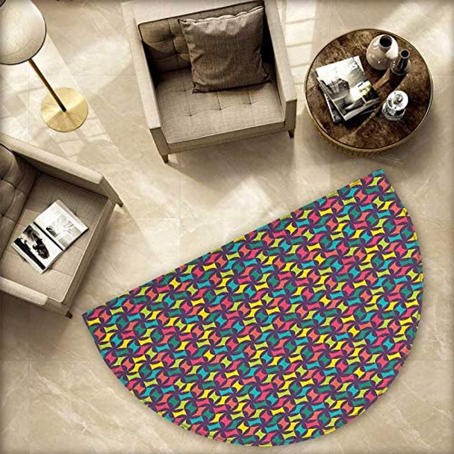 colorful Semicircle Doormat Modern and Geometrical Floral Pattern Abstract and Retro Style Hipster Fashion Halfmoon doormats H 78.7  xD 118.1  Multicolor