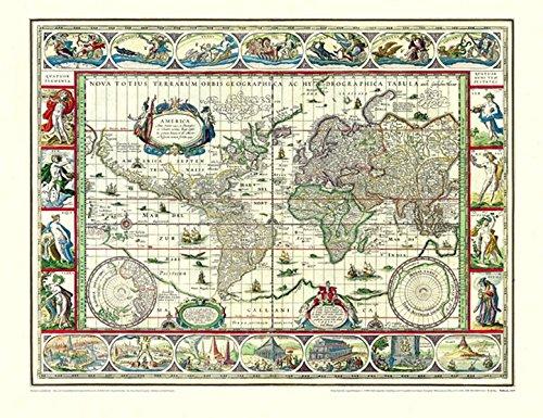 Historische WELTKARTE 1635 Willem Janszoon Blaeu (Plano) Reihe World Map Weltkarten