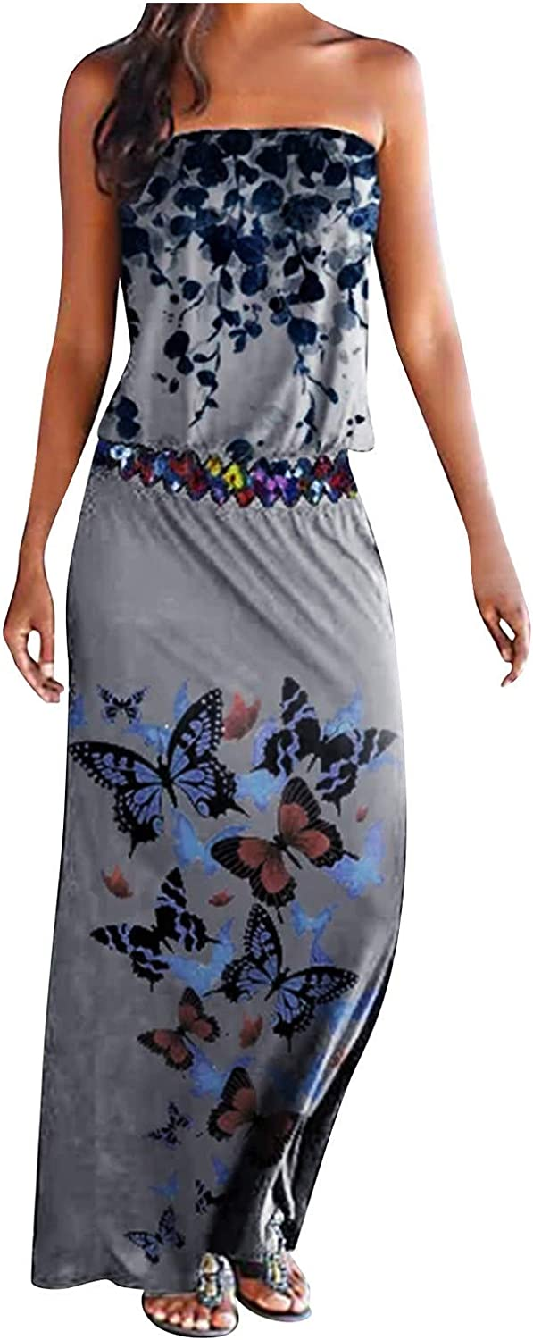 Summer Casual Maxi Dress for Women,Butterfly Print Strapless Tube Top Dress Wedding Guest Fashion Patchwork Dress