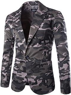 Gladiolus Men's Long Sleeve Jacket Blazer One Button Suits Coat Casual Camouflage Suits Blazer Jacket