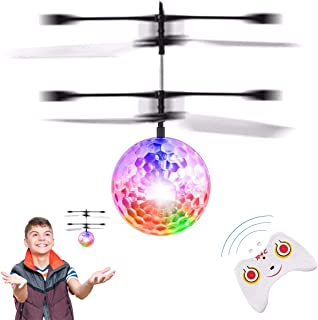 RIGMA Flying Ball Toys, Induction Hover Remote Control Helicopter Toy Plane   Rechargeable RC Toy for Kids Boys & Girls   Light Up Ball Drone   for Kids Teenagers Adults Games Gift (Disco Ball)