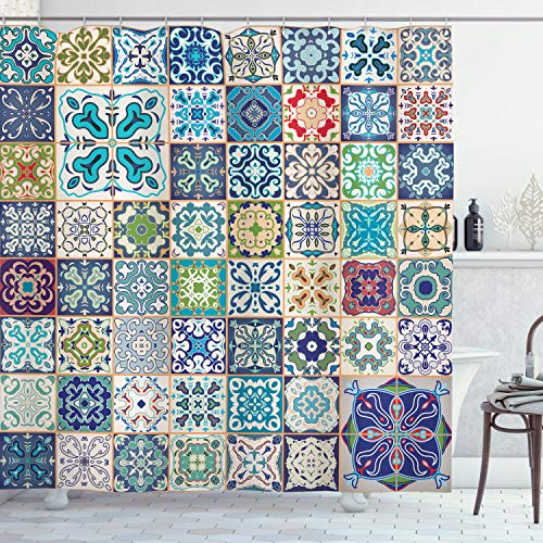 """Ambesonne Moroccan Shower Curtain, A Floral Patchwork Design with a Mediterranean Mosic Patterns Symbolic Style of Artwork, Cloth Fabric Bathroom Decor Set with Hooks, 84"""" Long Extra, Turquoise Navy"""