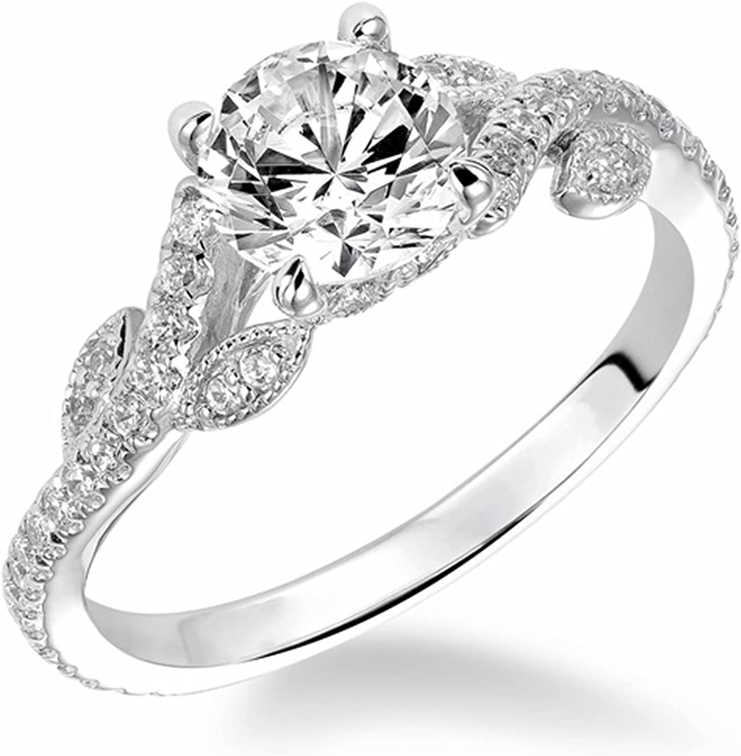 Twisted Engagement Rings for Women with 1-1/4 Carat(ctw) Moissanite Flower Engagement Rings 10K 14K 18K Gold Wedding Anniversary Rings with Text Engraving