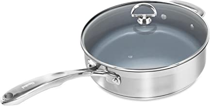 3-Quart : Chantal SLIN34-240C Induction 21 Steel Ceramic Coated Saute Skillet with Glass Tempered Lid, 3 quart, Silver