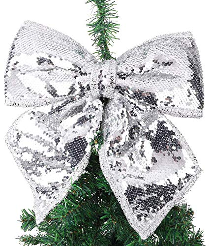 Toyland 30cm Silver Sequin Bow - Luxury Accessories