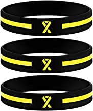 Sainstone Yellow Awareness Ribbon Silicone Bracelets, Mental Health Awareness Bracelet, Yellow Ribbon Wristbands Unisex for Men Women