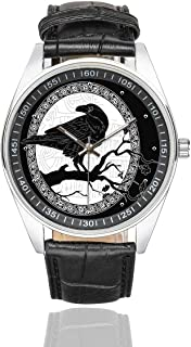 InterestPrint Black Crow Men's Waterproof Wrist Watches Black Leather Band Watch