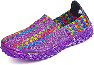 AUCDK Women Slip On Loafers Breathable Braided Synthetic Casual Flats Suitable for Walking Jogging Wading